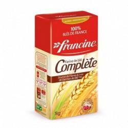 Francine Farine de Blé Complète Source de Fibres & de Germes de Blé Multi-Usages 1Kg (lot de 8)
