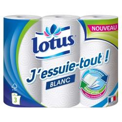 Lotus J'essuie-tout! Blanc Résistance Absorption Triple Épaisseur 3 rouleaux (lot de 4 soit 12 rouleaux)
