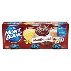 Mont Blanc Crème Dessert Chocolat Vanille Praliné (lot de 6)