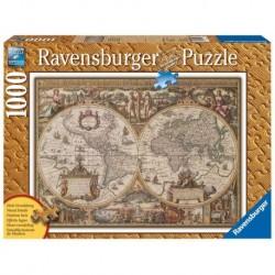 Ravensburger Puzzle 1000 pièces - Carte du monde ancienne (Traité bois)