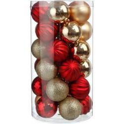 Kit de décoration pour Sapin de Noël Or et Rouge 30 pièces