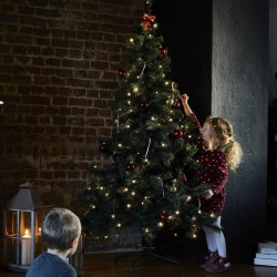 Sapin de Noël artificiel avec guirlande lumineuse et pied inclus 180cm