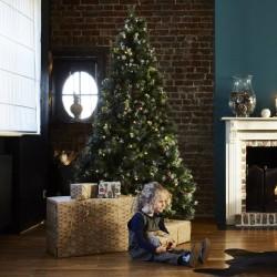 Sapin de Noël artificiel Deluxe avec guirlande lumineuse et décorations 210cm
