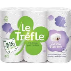 """Le Trèfle Papier Toilette Maxi Feuille """"Absolu Bien-Être"""" 6 rouleaux (lot de 3)"""