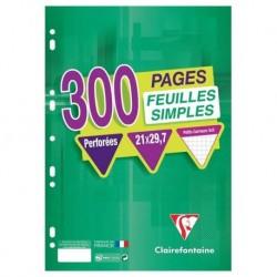 Clairefontaine 300 Feuilles Simples Perforées A4 21x29,7 Petits Carreaux (lot de 3)