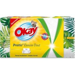 Okay Pratic' Essuie-Tout Format Pratique 70 Feuilles (lot de 6)
