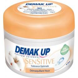 Demak Up Cotons Imprégnés Sensitive Tolérance Optimale Démaquillant Yeux Pot de 30 Cotons (lot de 4)