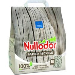 Nullodor Litière Papier Recyclé Naturelle Absorption Immédiate Très légère 10L (lot de 3)