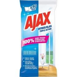 Ajax 40 Lingettes Vitres Triple Action (lot de 3)