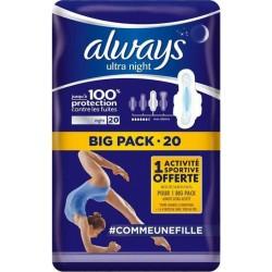 """Always Ultra Nuit Serviettes Hygiéniques """"Taille 3"""" Big Pack x20 (lot de 2)"""