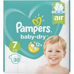 Pampers Couches Baby-Dry Géant T7 (15Kg+) x30 (lot de 2)