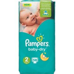 Pampers Couches Baby-Dry Géant T2 (3-6Kg) x58 (lot de 2)