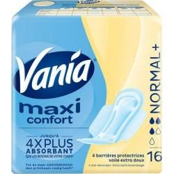 "Vania Maxi Confort Serviettes Hygiéniques ""Normal+"" x16 (lot de 4)"