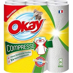 """Okay """"Compressé"""" Essuie-tout 6 Rouleaux (lot de 3)"""