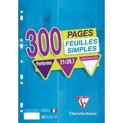 Clairefontaine 300 Feuilles Simples Perforées A4 21x29,7 Grands Carreaux Seyes (lot de 3)
