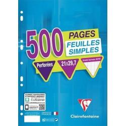Clairefontaine 500 Feuilles Simples Perforées A4 21x29,7 Grands Carreaux Seyes (lot de 3)