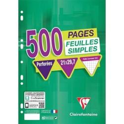 Clairefontaine 500 Feuilles Simples Perforées A4 21x29,7 Petits Carreaux (lot de 3)