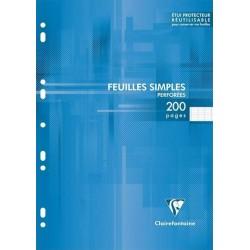 Clairefontaine 200 Feuilles Simples Blanches Perforées 90g A4 21x29,7 Grands Carreaux (lot de 3)