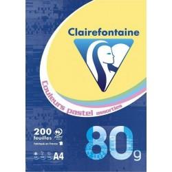 Clairefontaine Ramette 200 Feuilles Couleurs Pastel Assorties 80g Format A4 (lot de 2)