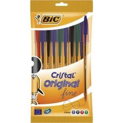 Bic Cristal Original Fine Stylo Couleurs Assorties (lot de 40 stylos)