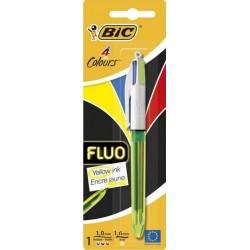 Bic Stylo Bille 4 Colours Fluo Encre Jaune (lot de 3 stylos)