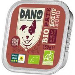 Dano Pâtée au Bœuf BIO pour chien barquette de 150g