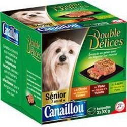 Canaillou Double Délices émincés en gelée légumes pour chien sénior les 3 barquettes de 300g