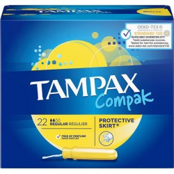 TAMPAX Compak Tampon Regular Protective Skirt x22 (lot de 4)