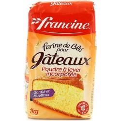 Francine Farine de Blé Pour Gateaux Poudre à lever Incorporée Gonflés et Moelleux 1Kg (lot de 8)