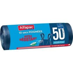 Alfapac Sac Poubelle à Poignées 10x50L (lot de 5)
