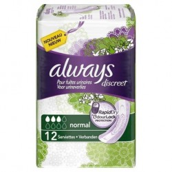 Always Discreet Serviettes Pour Fuites Urinaires Normal x12 (lot de 3)
