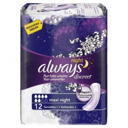 Always Discreet Serviettes Pour Fuites Urinaires Maxi Night x12 (lot de 2)