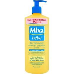 Mixa Bébé Gel Douche Très Doux Corps et Cheveux 2 en 1 à l'Huile d'Amande Douce Format Familial 750ml (lot de 2)