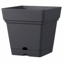 Deroma Pot Plastique à Réserve d'Eau Anthracite Longueur 17,5cm Largeur 17,5cm Hauteur 17cm (lot de 3)