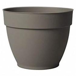 Deroma Pot de Fleur Rond Ninfea à Réserve d'Eau Taupe Diamètre 34cm Hauteur 27cm (lot de 3)