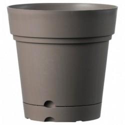 Deroma Pot Rond Plastique à Réserve d'Eau Samba Taupe Diamètre 22cm Hauteur 22cm (lot de 3)