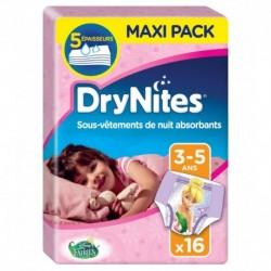Huggies DryNites Sous-Vêtements de Nuit Absorbants (fille 3-5ans) x16 (lot de 2 soit 32 sous-vêtements)