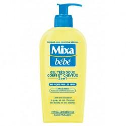 Mixa Bébé Gel Douche Très Doux Corps et Cheveux 2 en 1 à l'Huile d'Amande Douce 250ml (lot de 4)