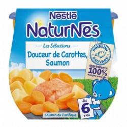 Nestlé Naturnes Les Sélections Douceur de Carottes Saumon (dès 6 mois) par 2 pots de 200g (lot de 6 soit 12 pots)