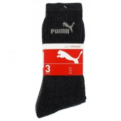 Puma Mi Chaussettes Noires Sport Logo Gris Taille 31 à 34 (lot de 6 paires)