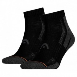 Head Chaussettes Performance Quarter Gris Noir Taille 43 à 46 (lot de 4 paires)