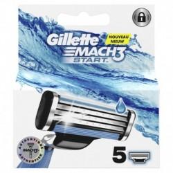 Gillette Nouveau Mach3+ Start Lames de Rasoir Authentiques pour Homme 5 Recharges